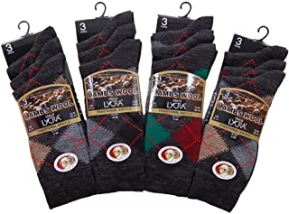 Mens Traditional Argyle Pattern Lambs Wool Blend Socks With Lycra (Mid Calf)