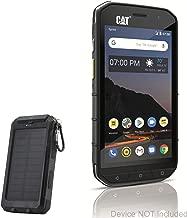 CAT S48C Battery, BoxWave [Solar Rejuva PowerPack (6000mAh)] Solar Powered Backup Power Bank for CAT S48C - Jet Black