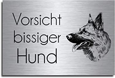 M7 Echtes Edelstahl Hinweis-Schild T/ürschild Gr/ö/ße 12x8 oder 15x10 cm Viel Gl/ück Hund Sch/äferhund selbstklebend oder mit Bohrl/öcher Betreten auf eigene Gefahr Hundeschild Modell