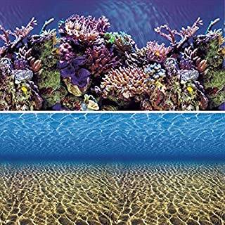 Vepotek Aquarium Background Ocean Seabed /Coral Reef Double sides (36WX24H)