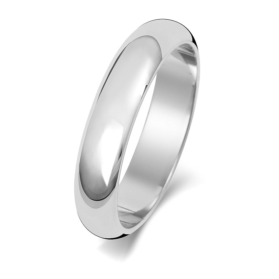 筋肉の雪分注する9K 9金ホワイトゴールド 4mm 男性 女性 ウェディングバンド マリッジリング(結婚指輪) WQS150519KW