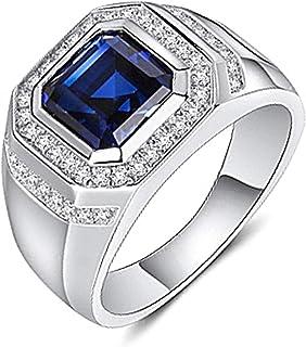 خاتم خطوبة OGTFRWS للرجال بشكل هندسي من الياقوت الأزرق والحجر الكريم (اللون: أبيض، مقاس الخاتم: 6)