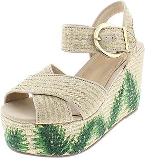 805e21116577 SCHUTZ Womens Feray Embroidered Cross Front Wedge Sandals Tan 8.5 Medium (B