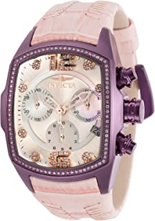 Invicta Women's Lupah Stainless Steel Quartz Watch with Leather Strap, Pink, 23 (Model: 31615)