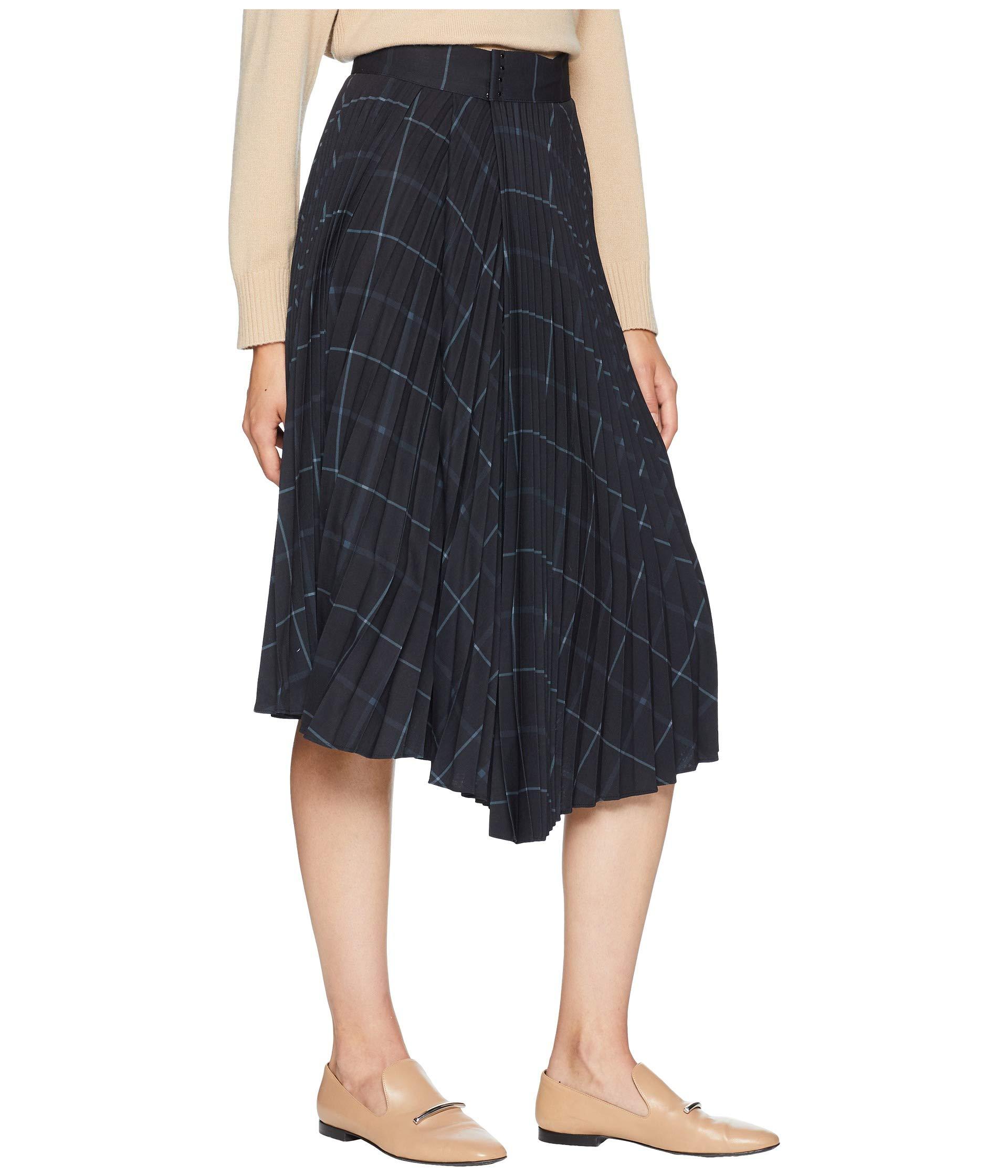 Vince Black Grid Plaid Pleated Drape Skirt Rf7ZwTRq