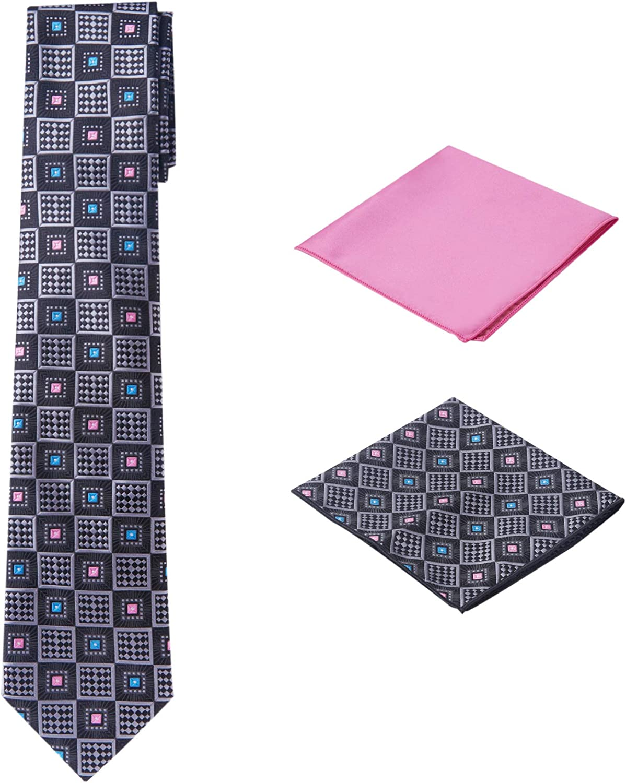 Men's Woven Medallion Regular Length Neck Tie with 2 Handkerchief Pocket Squares Hanky Set - Black Pink