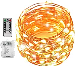 Gluckluz Fairy String Lights Copper Wire Battery Operated Starry Lighting Waterproof with Remote Control for Home Bedroom ...