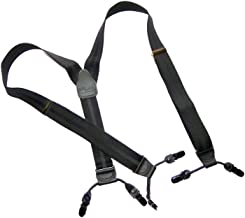 product image for Holdup Brand Black on black Striped Jacquard Series Dual Clip Double-Up Suspenders with black no-slip clips