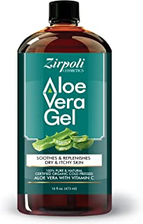 Zirpoli Cosmetics 100% Natural Aloe Vera Gel – 99.7% Certified Organic Aloe With Potassium Sorbate, Vitamin C, Citric Acid (For pH) & Plant-Based Xanthan – Soothing, Hydrating & Revitalizing 16 fl oz
