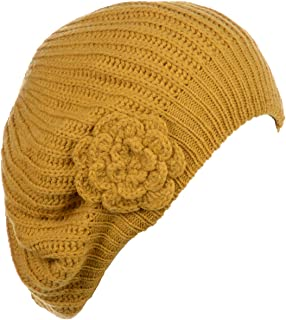 Accessory Necessary an - Womens Fall Winter Ribbed Knit Beret Double Layers with Flower