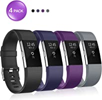 for Fitbit Charge 2 Bands, Soulen Silicone Adjustable Replacement Wristband for Fitbit Charge 2 Smart Watch Heart Rate...