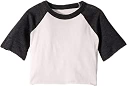 Extra Soft Jersey Flounce Sleeve Baseball Raglan Tee (Toddler/Little Kids)