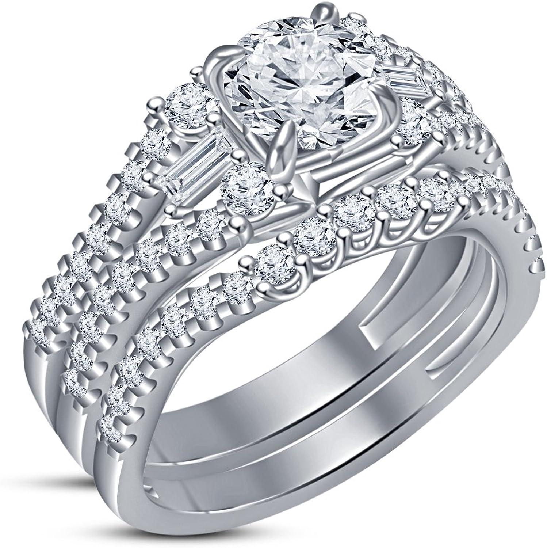 seguro de calidad Vorra Fashion - Anillo de compromiso para mujer, chapado en en en platino, corte rojoondo, Color blancoo  grandes ahorros