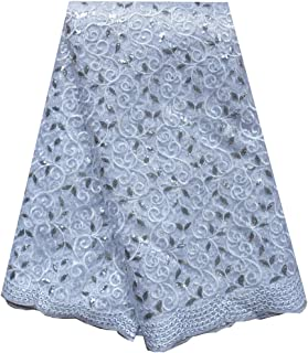SanVera17 African Lace Net Fabrics Nigerian French Fabric Embroidered and Beading Guipure Cord Lace for Party Wedding (white) 5 Yards us-fabric-050-6