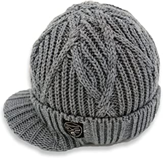 Born to Love Knuckleheads Gray Boy's Baby Visor Beanie Hat with Stripes Detail