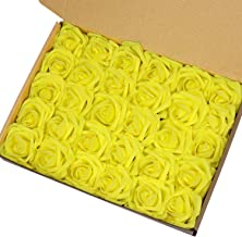 Marry Acting Artificial Flower Rose, 30pcs Real Touch Artificial Roses for DIY Bouquets Wedding Party Baby Shower Home Decor (Yellow)