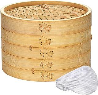 Bamboo Steamer Basket 10 inch, 2 Tier Natural Bamboo Steamer for Dumplings Dim Sum Bao Bun Chinese Handmade Dumpling Steam...