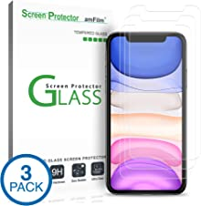 """amFilm Glass Screen Protector for iPhone 11 / iPhone XR (6.1"""" Display) (3 Pack) with Easy Installation Tray"""