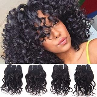 Brazilian Curly Human Hair Weave 4 Bundles Wet And Wavy Remy Hair Extensions Real Raw Hair Bundles 8A Unprocessed Virgin Hair Loose Italian Curl Natural Black Color 8 Inch Small Bundle 50g/Pc