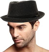 Men's Winter 100% Wool Porkpie Derby Fedora Trilby Ribbon Solid Hat