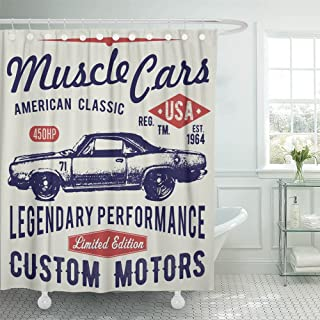 Emvency Shower Curtain 66x72 Inches Hotrod Design Retro Car Graphics Typographic Vintage for Label Badge Applique Machine Washable
