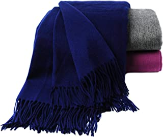 CUDDLE DREAMS Premium Cashmere Throw Blanket with Fringe, Luxuriously Soft (Navy)