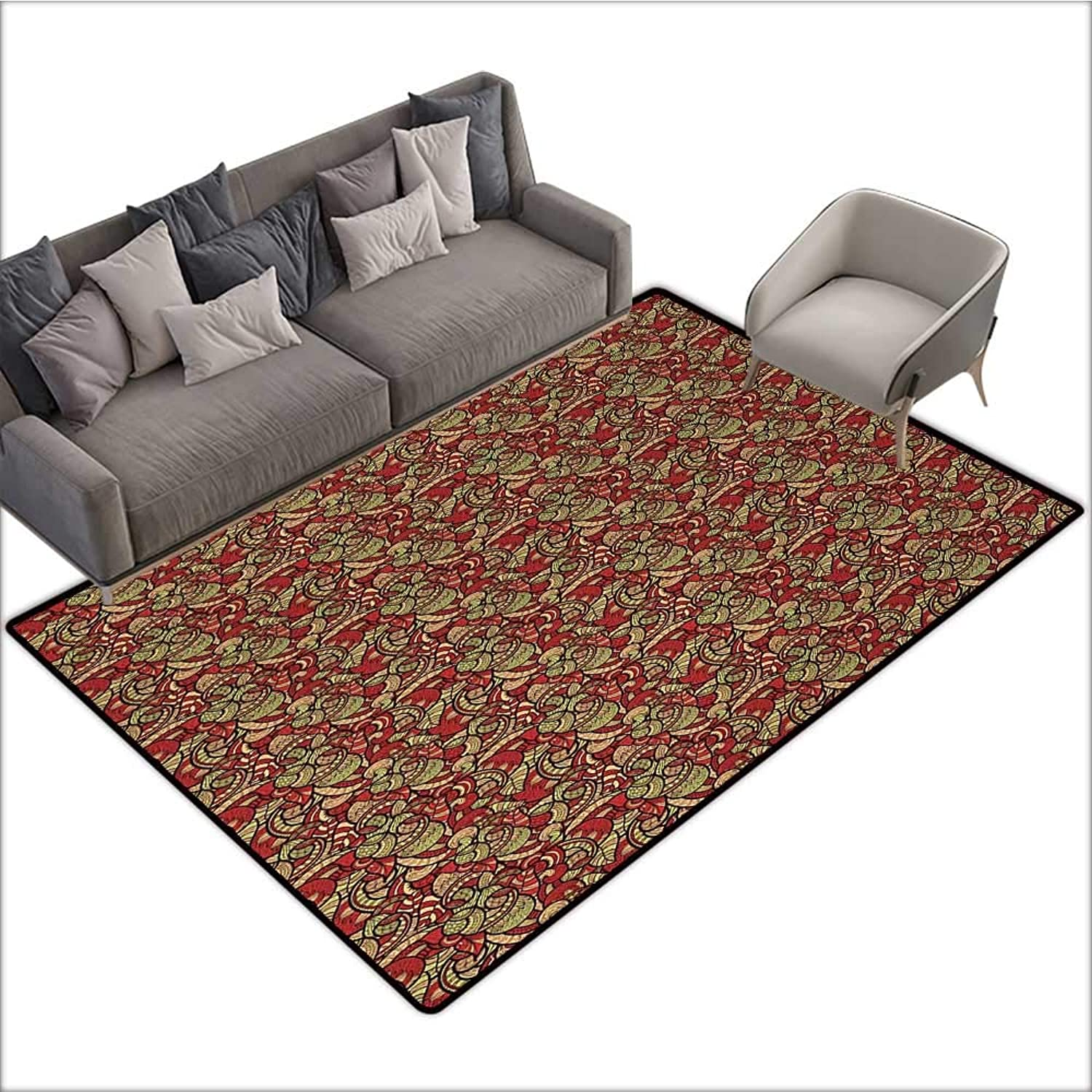 Ethnic Indoor Floor mat Doodle Style Pattern with Swirls Leaves and Petals African Botanical 78 x94 ,Can be Used for Floor Decoration