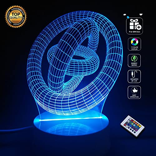 [Abstract Staggered Ring] BOPU 7 Colour Changing Art Sculpture Lights Up in Produces Unique Lighting Effects and 3D Visualization Amazing Optical Illusion and 24 Keys Remote Control,USB Powered Light,Lighting Gadget Lamp Home Bedroom Decoration Awesome Gift