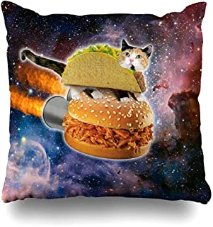 Throw Pillow Covers Funny Taco Cat Riding Hamburger in Space Outdoor Square Size 18 x 18 Inches Cushion Cases Home Pillowcases