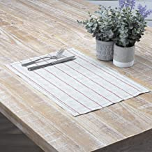 VHC Brands Farmhouse Tabletop Kitchen Charley Linen Striped Rectangle Table Décor, Placemat Set 12x18, Red