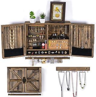 Organisateur de bijoux à suspendre rustique | Porte-bijoux mural en maille | Support mural en bois pour colliers, bracelet...