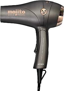 Artero Mojito - Secador de pelo de viaje, plegable. Con difusor, boquilla y funda. 1000W de potencia. (GOLD)