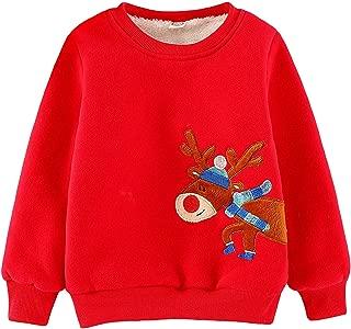 Toddler Boys Sweater Sherpa Lined Christmas Reindeer Winter Warm Fleece Pullover Sweatshirt Hoodies