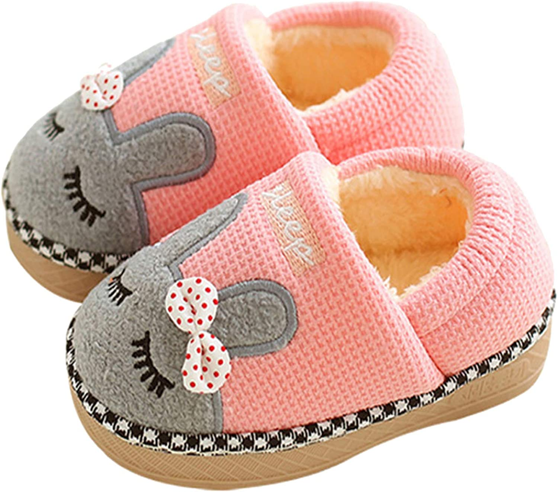 JACKSHIBO Girl Cute Chicago Mall Free shipping Home Slippers Kid Lined Winter House Sli Fur
