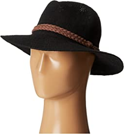 KNH8008 Machine Knit Fedora w/ Braided Suede Trim