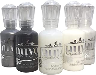 Nuvo Crystal Drops - Bundle of 5 Colors - Gloss White, Ebony Black, Ivory Seashell, Liquid Mercury and Morning Dew