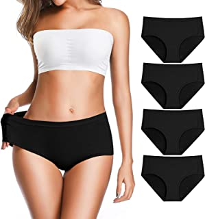 OLIKEME Womens Underwear,6 Pack Solid Cotton Breathable Comfortable Stretch Ladies Soft Underpants Briefs Panties for Women