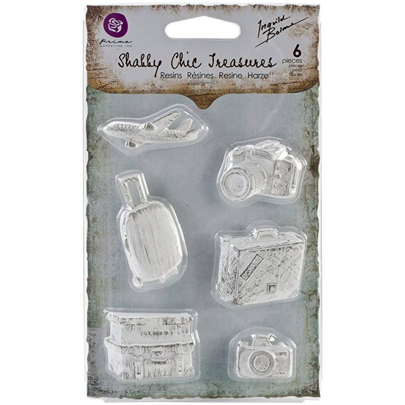 Prima Marketing Shabby Chic Treasures Resin, Explore, 6-Pack
