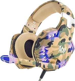 Audífonos Gamer Auriculares para juegos para PS4, PC, Xbox One, aislamiento de ruido profesional, auriculares para colocar sobre las orejas con micrófono, luz LED, sonido envolvente de graves, orejeras de memoria suave, auriculares para juegos G2600 Camo