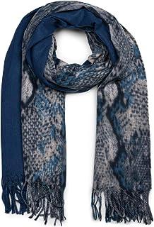 styleBREAKER chal de mujer con motivo de piel de serpiente y coloridas rayas con deshilachados largos, invierno, estola, p...