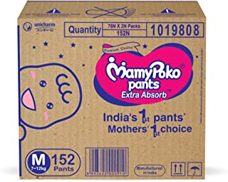 MamyPoko Pants Extra Absorb Diaper Box, Medium (152 Count)