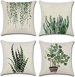 CARRIE HOME Green Plant Fern Pillow Case Aqua Leaf Outdoor Pillow Covers 18 x 18 Inch for Patio and Couch, 4 Pack
