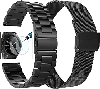 CAGOS Compatible Galaxy Watch (42mm) Bands Sets, 20mm Metal Band+Milanese Loop Mesh Bracelet Strap for Galaxy Watch 42mm/ Garmin Vivoactive 3/ Ticwatch E Smartwatch (Black, Small)