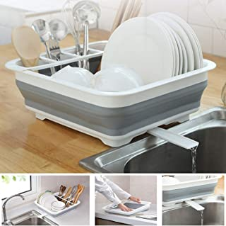 Ahyuan Collapsible Drying Rack with Adjustable Swivel Sprout Dishes Dinnerware Basket Plates Drainer Pop up Dish Rack Collapsable Dish Drainers for Kitchen Counter RV Campers (12.4''Wx14.4''L)