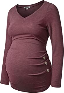 GINKANA Maternity Shirt Long Sleeve Basic Top Ruch Sides Buttons Tshirt for Pregnant