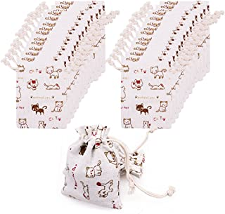Amariver 24 Pcs Cute Cat Burlap Drawstring Bag Double Drawstring Linen Bags Reusable Linen Pouches, Perfect for Jewelry Pouch, Wedding Birthday Parties Favor, Gift/Candy Bags, Set of 24