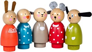 Moulin Roty 'Les Grande Famille' Collection - Les Personnages - Five Simple Wooden Characters for Use Dollhouse & Other Toys