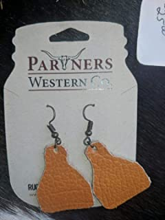 Cattle Tag Leather Earrings-Orange