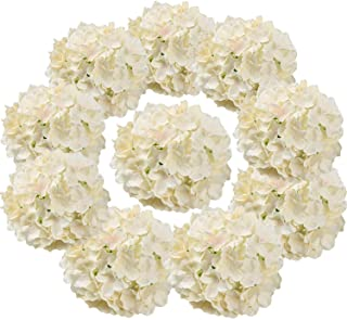 Flojery Silk Hydrangea Heads Artificial Flowers Heads with Stems for Home Wedding Decor,Pack of 10 (Champagne)