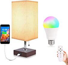 USB Table Lamp, Aooshine USB Bedside Lamp with Remote Control RGBW Dimmable A15 E26 LED Bulb, Color Changing Mode, Suitable for Bedroom or Office